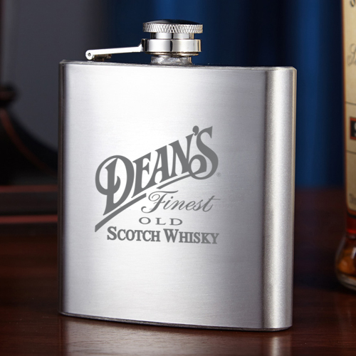 Laser engraved hip flasks