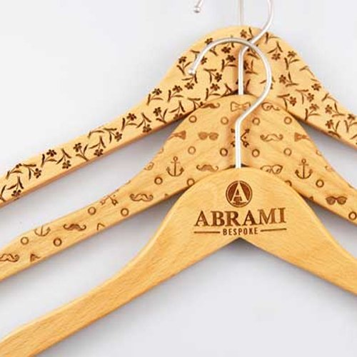 Laser engraved wooden hangers